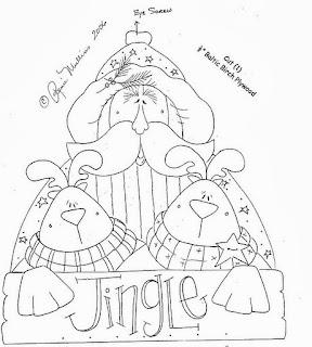 desenho papai noel country com renas para pintar