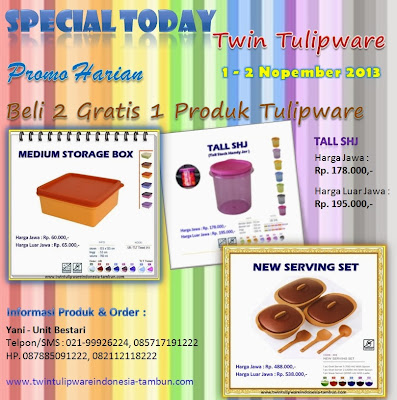 Special Today Tulipware 1 - 2 Nopember 2013, Medium Storage Box, Tall SHJ, New Serving