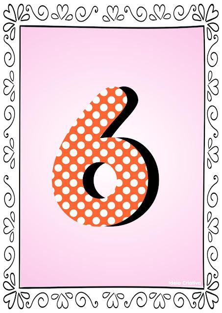 Numerais de Poá colorido com bordas 6