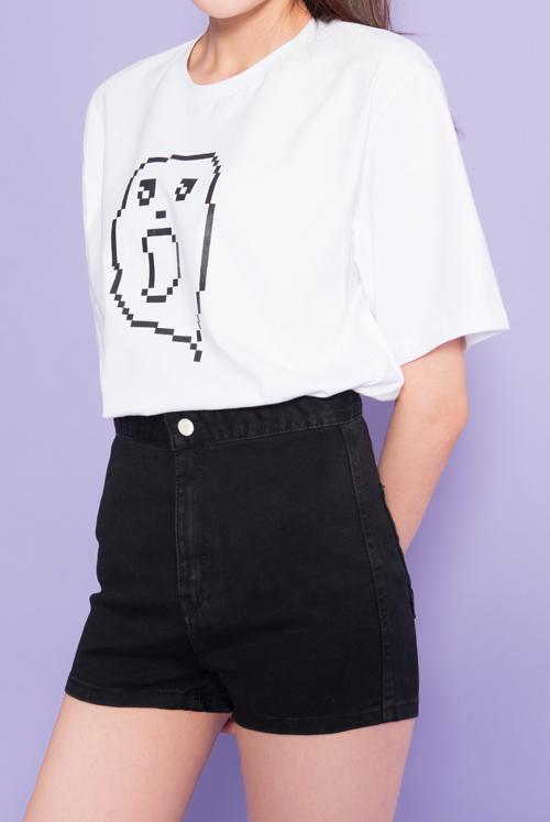 Pixel Print Ghost Print T-Shirt