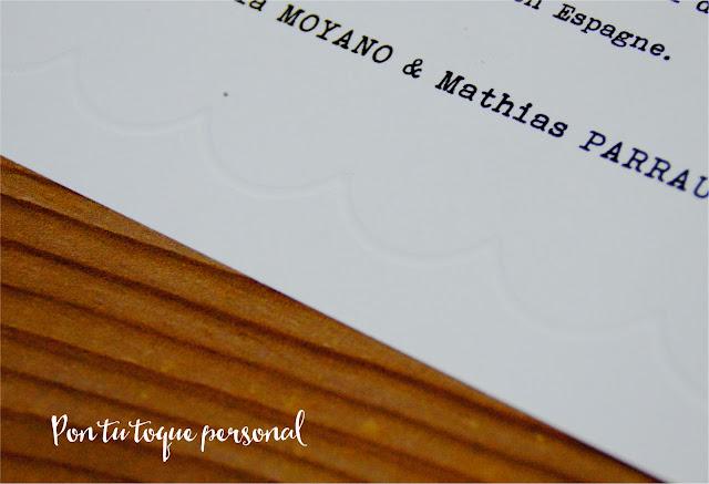 invitacion boda letra maquina escribir relieve de ondas