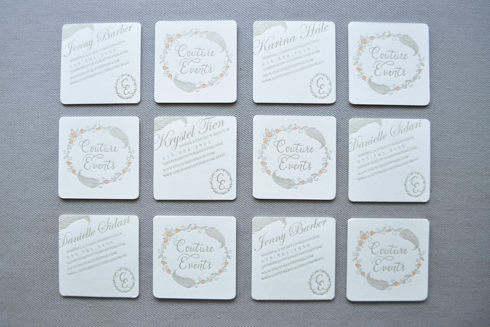 Dear lola letterpress business cards san diego and los angeles based event coordinators couture events these cards are double sided with 2 colors on one side and 1 color on the opposite reheart