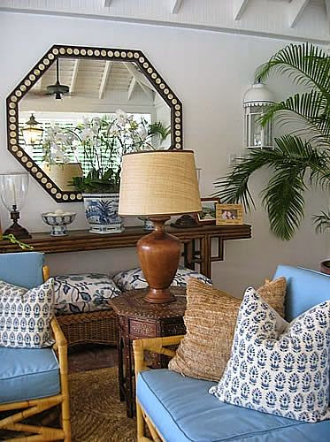 blue and white beach coastal style living room