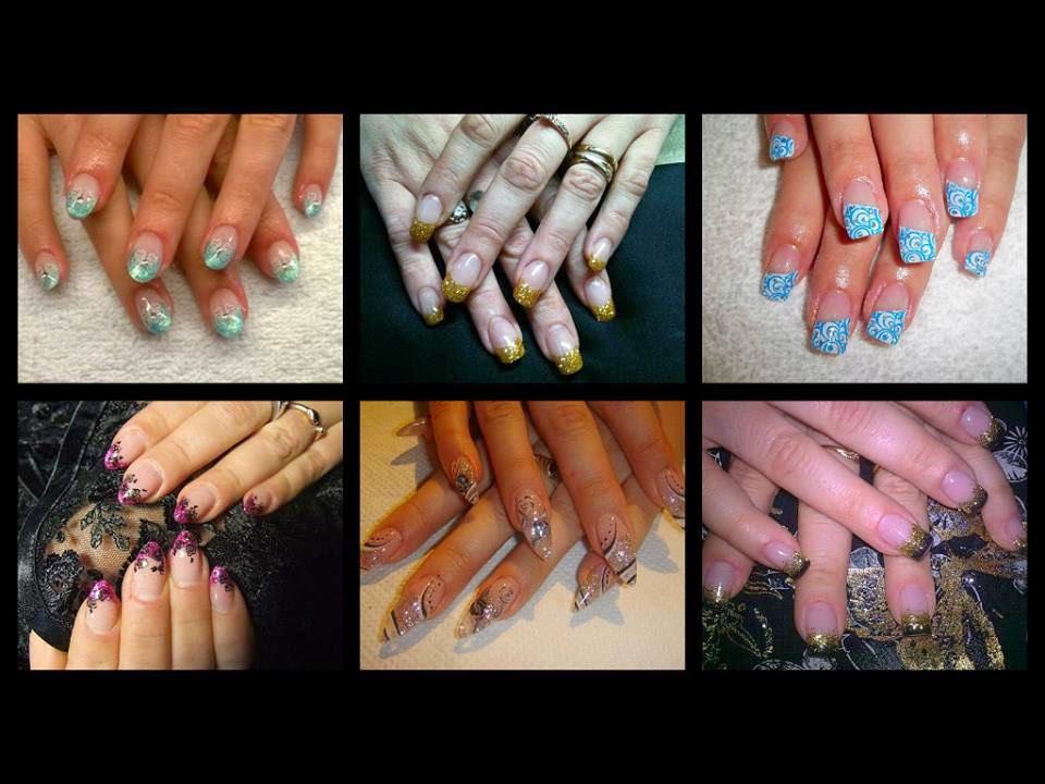 Acrylics sculpts nail art tips back-fill nail art designs glitz-gold blue green white black silver purple golden