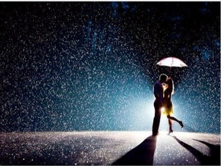 rain fall in moon light couple kissing