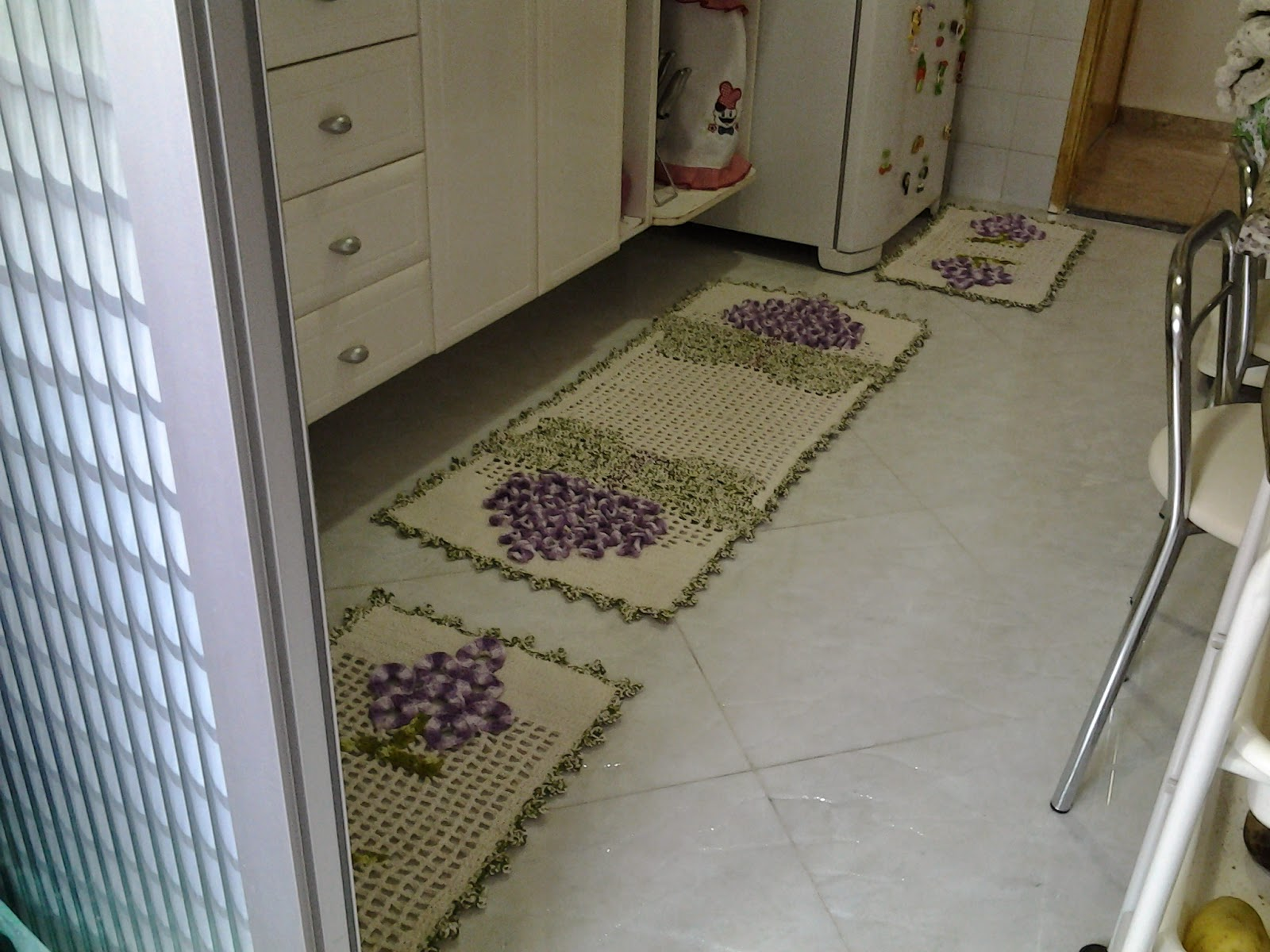 Tapetesa: Jogo de tapetes de croche para cozinha cacho de uva