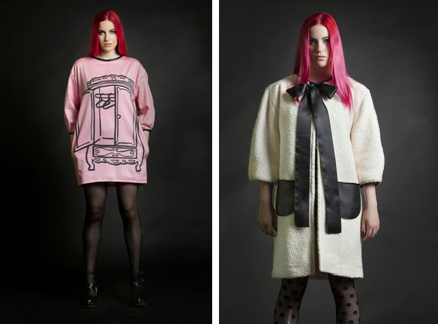 yiddish chutzpah, pink jumper with print, coat with bow