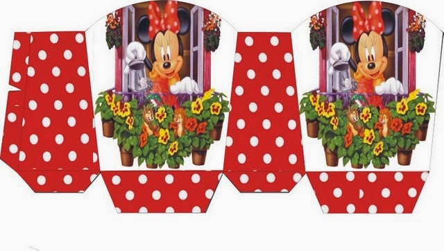 Minnie with Flowers: Free Printable Basket.