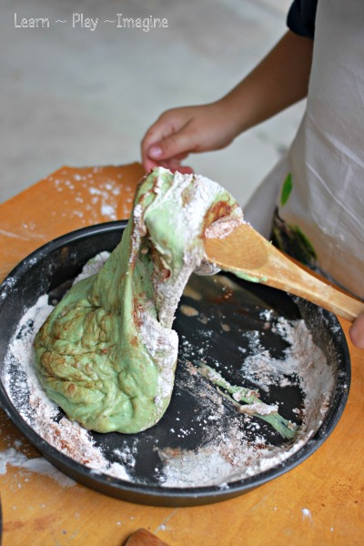 Whipping up a batch of this soft and stretchy dough recipe to play pretend bake shop