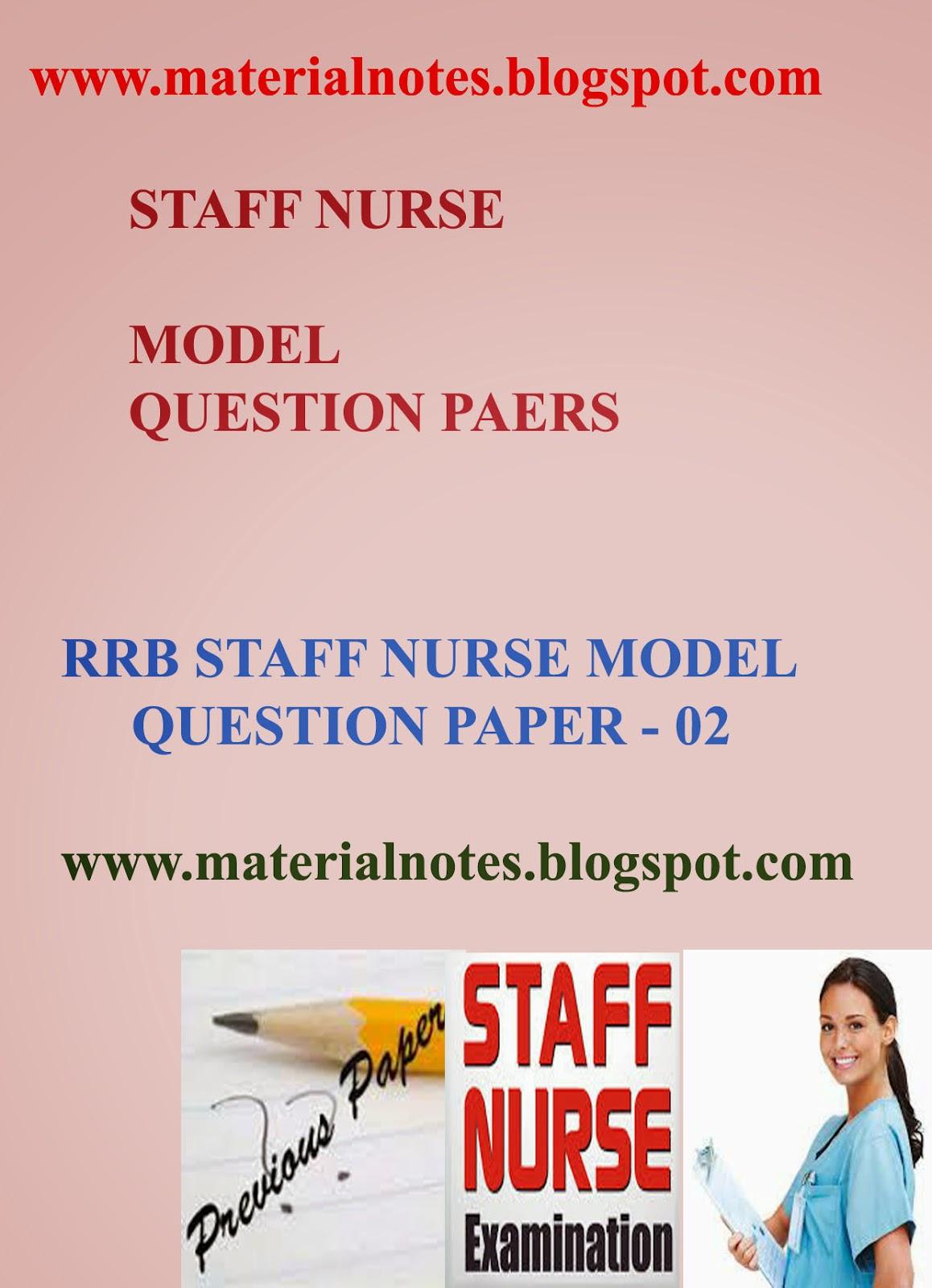 rrb staff nurse model question paper