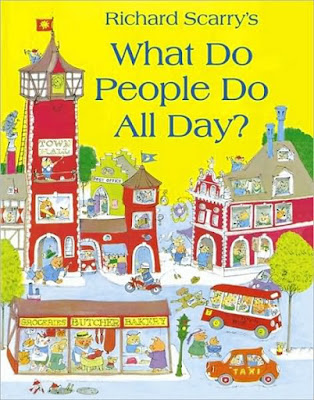 Yellow illustrated front cover of Busytown in Richard Scarry's What do People do All Day?