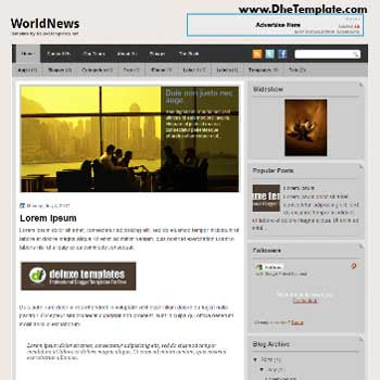 WorldNews blogger template. template blogger magazine style template. template blogger with featured content slider