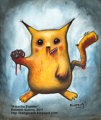 Zombie Pikachu, ゾンビピカチュウ, Eusebio Guerra, 2011, Acrylic on canvas