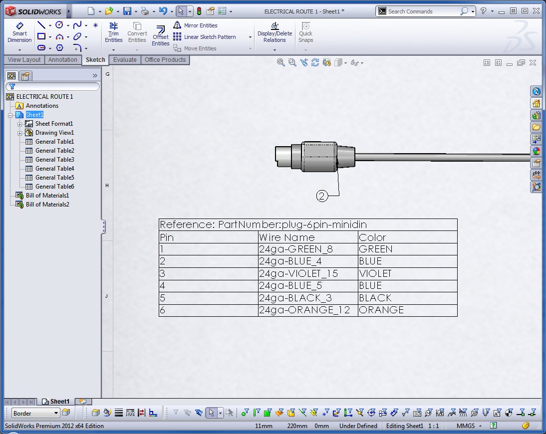 solidworks routing putting power into your designs each end connector also has a table beside it listing the wire id and which pin it connects to