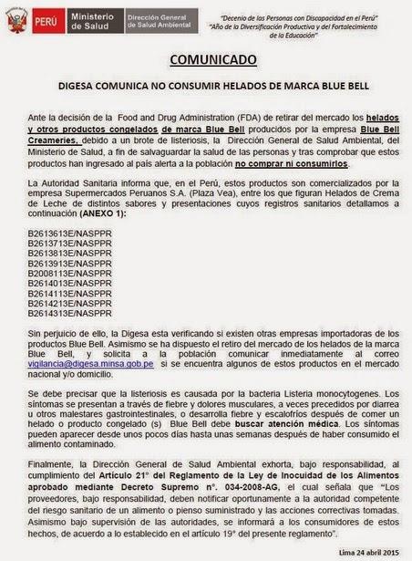 HELADOS BLUE BELL CONTAMINADOS CON LISTERIOSIS ALERTA DIGESA