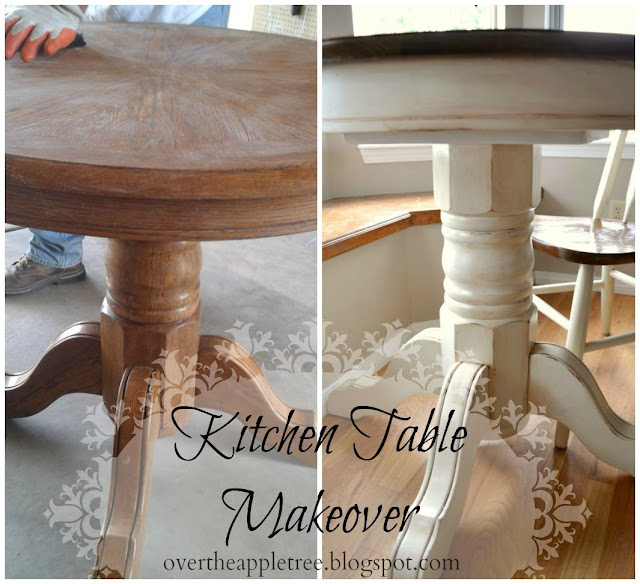 DIY kitchen table makeover by Over The Apple Tree