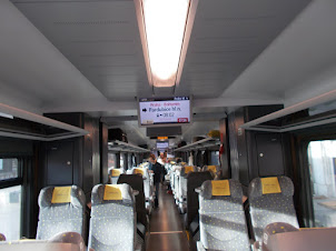 """Internal view of the classic """"LEO EXPRESS"""" train."""