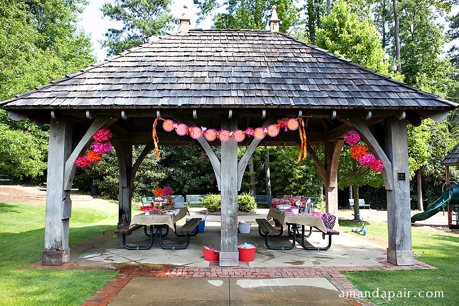 Party pink and orange in the park life baby baby showers parties nurseries baby - Outdoor anniversary party ideas ...