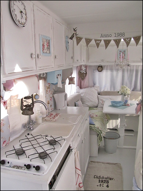 Anyone can decorate camping in vintage chic style Diy caravan interior design ideas