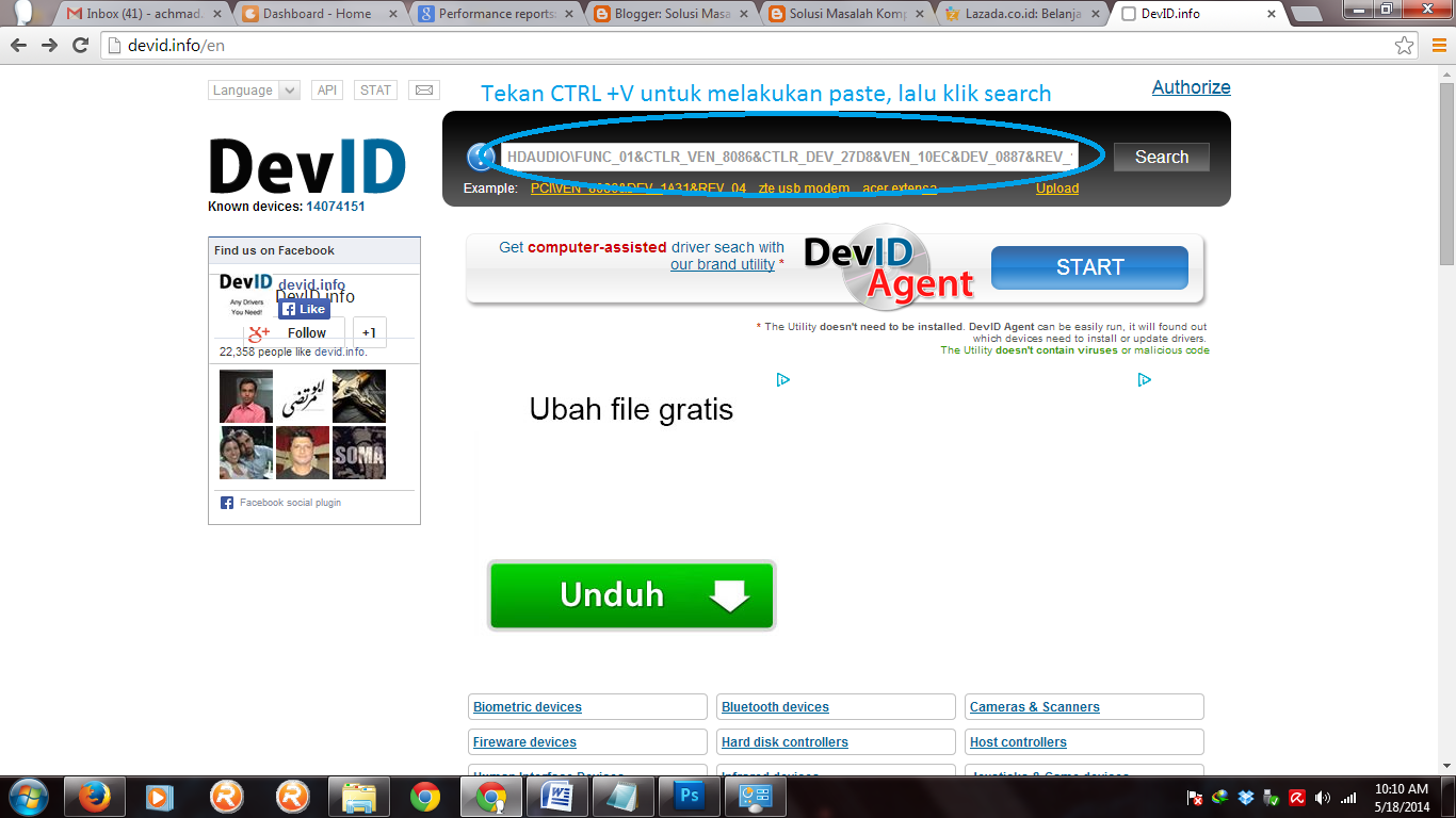 paste kode dev id lalu klik search