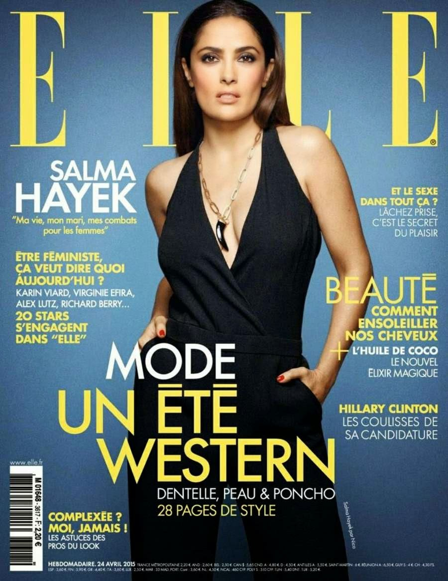 Salma Hayek covers Elle France April 2015 in a plunging jumpsuit