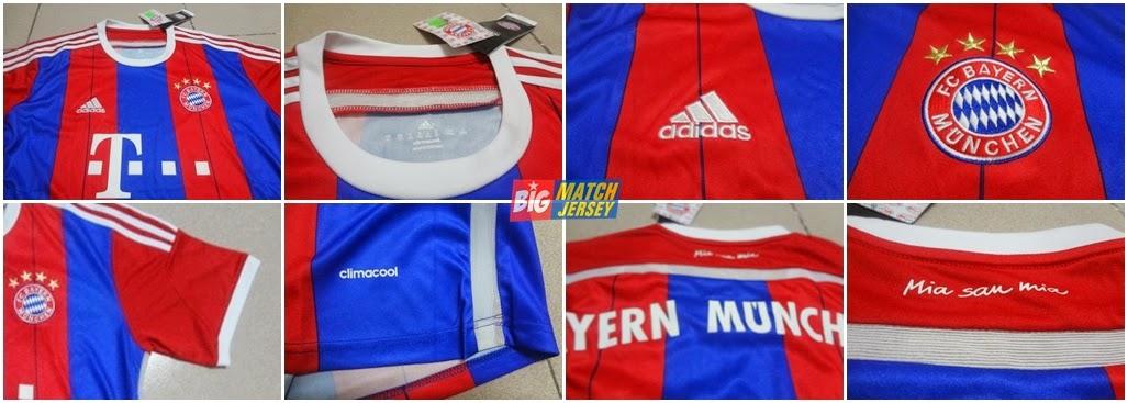 Detail Jersey Bayern Munich Home 2014-2015 Liga Jerman