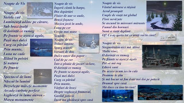 noapte de vis poezie Credinta Dumnezeu spirit pastel brazi luna stele iubire sat casa cina Maria Teodorescu Bahnareanu Wrinkles on my Timeline