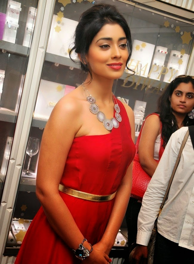 Shreya Saran hot in Red dress hd wallpapers