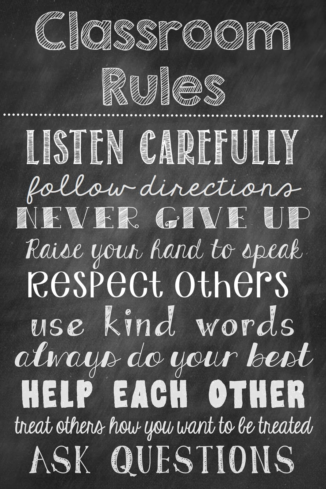 elementary classroom rules poster