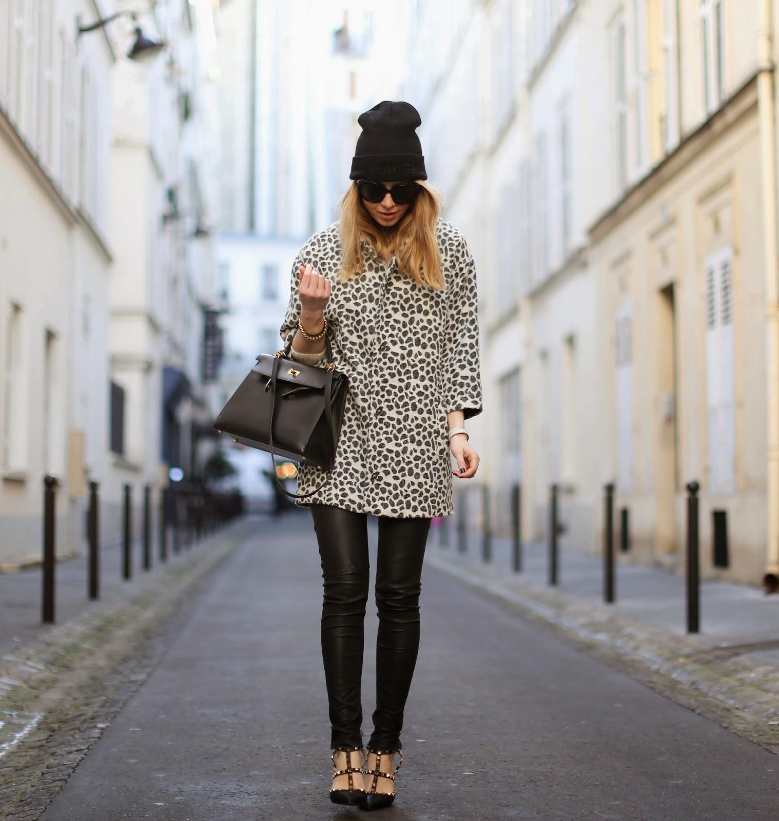 leopard, leopard coat, valentino rockstuds, blkdnm, leather pants, homies, hermès kelly, streetstyle
