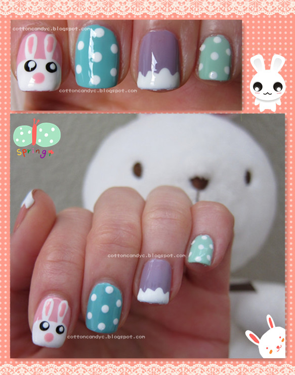Cotton Candy Blog Tutorial Easter Cute Bunny And Eggs Nail Art