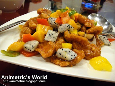 Stir Fried Sweet and Sour Pork with Fresh Fruits at Passion Restaurant in Resorts World Manila