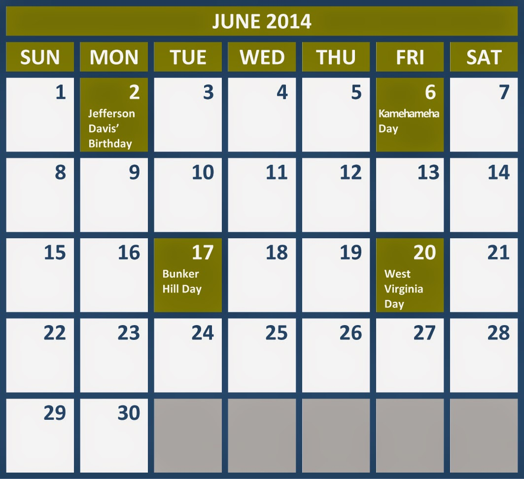 "Calendar Showing June : Search results for ""calendar with holodays calendar"