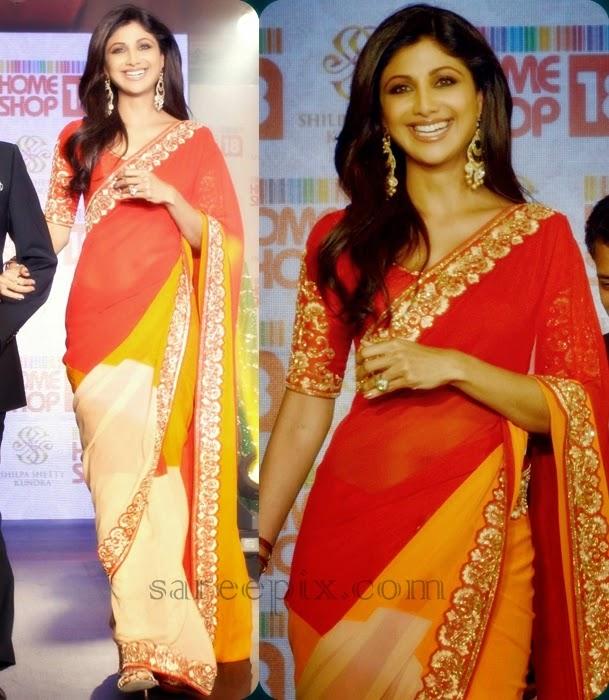 Shilpa-shetty-showcasing-her-own-designed-saree