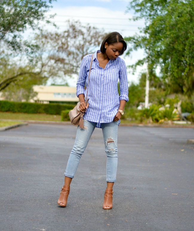 Stripes & Distressed Denim | Spring Outfit Ideas