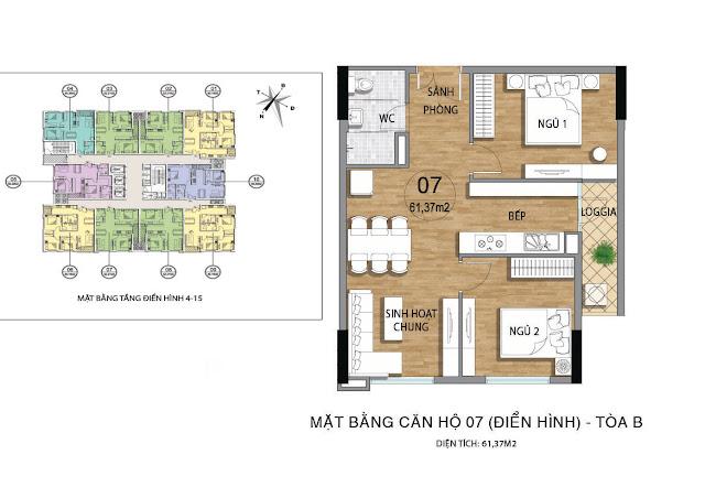 Mặt bằng căn hộ B07 tầng 4-15 dự án Valencia Garden