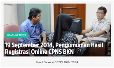 Pengumuman Hasil Seleksi TKD CPNS BKN 2014