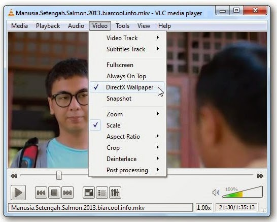 vlc media player putar film manusia setengah salmon sebagai video wallpaper jpg