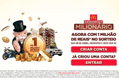 Promoção Mcdonald's Monopoly vai sortear R$ 1 milhão