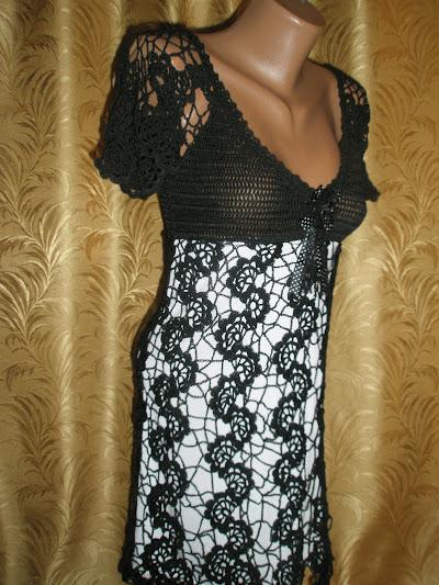 Черно-белое платье ленточное кружево