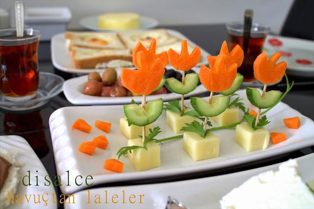 kahvaltılık havuçtan salatalıktan kaşar peynirinden lale yapılışı