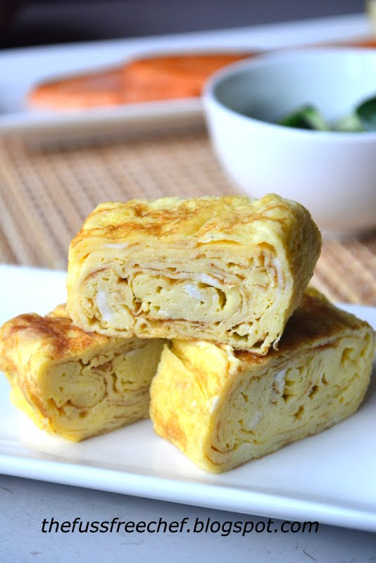 Rolled omelet (Tamagoyaki) sushi is one of my son's all time favourite ...