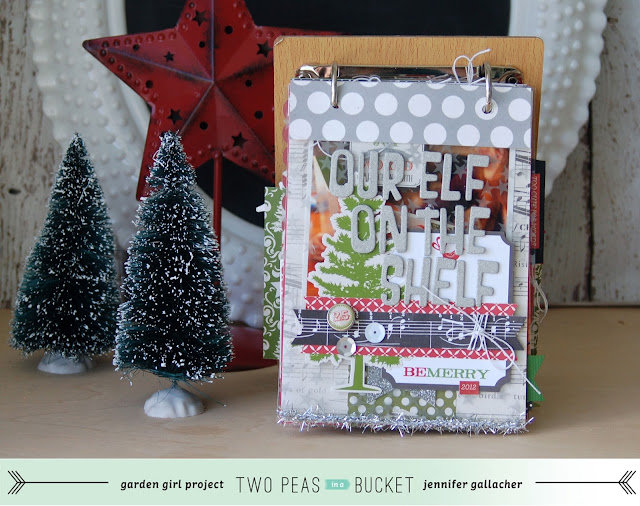 Elf on the Shelf #Christmas #scrapbooking album by Jen Gallacher. http://jengallacher.blogspot.com/2013/11/2peas-december-daily-album-elf-on-shelf.html