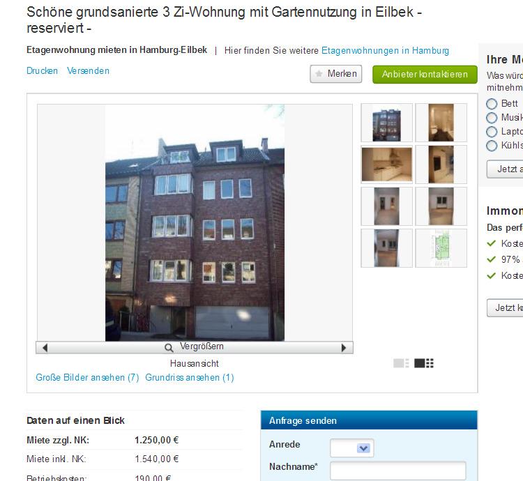 Wohnung Hamburg Eilbek