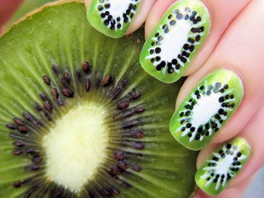 Kiwi nail art Designs