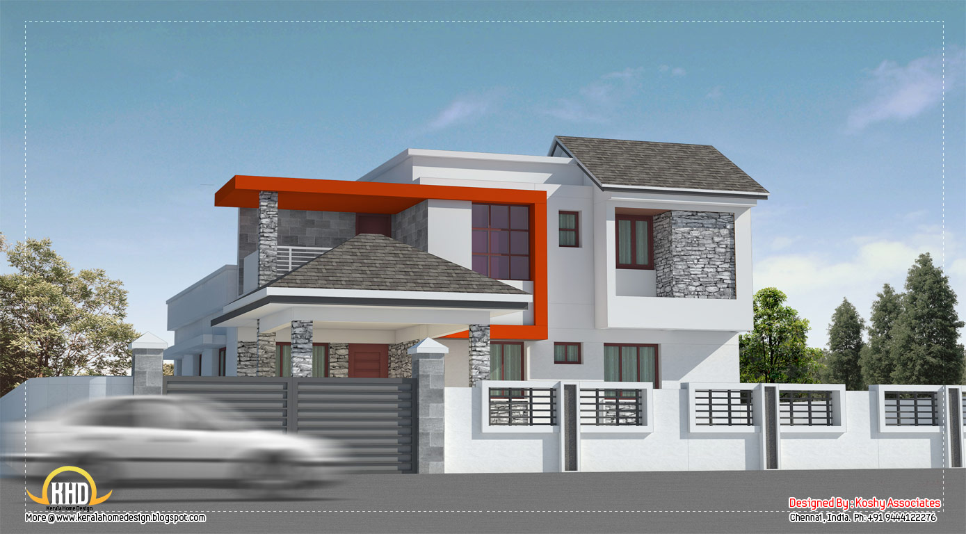 Modern house design in chennai 2600 sq ft kerala for Modern villa house design