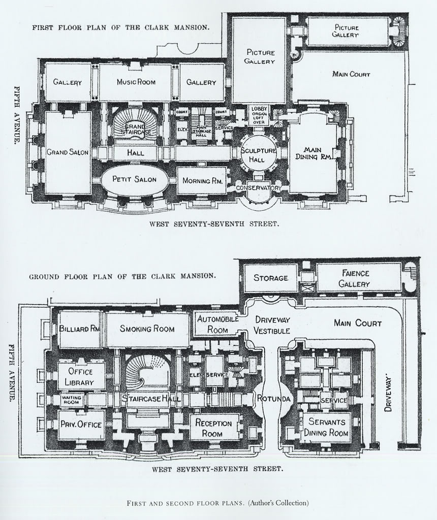 Mansion floor plans william a clark house new york Estate home floor plans