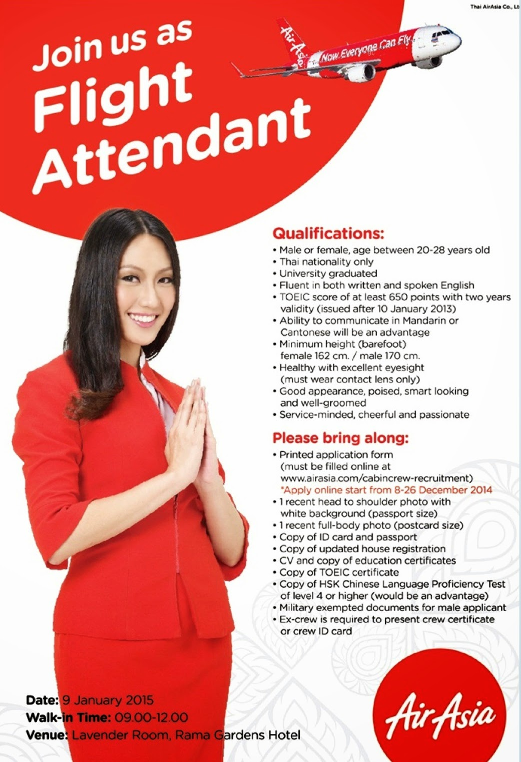 Fly gosh thai air asia cabin crew recruitment open day for Cabin crew recruitment agency philippines