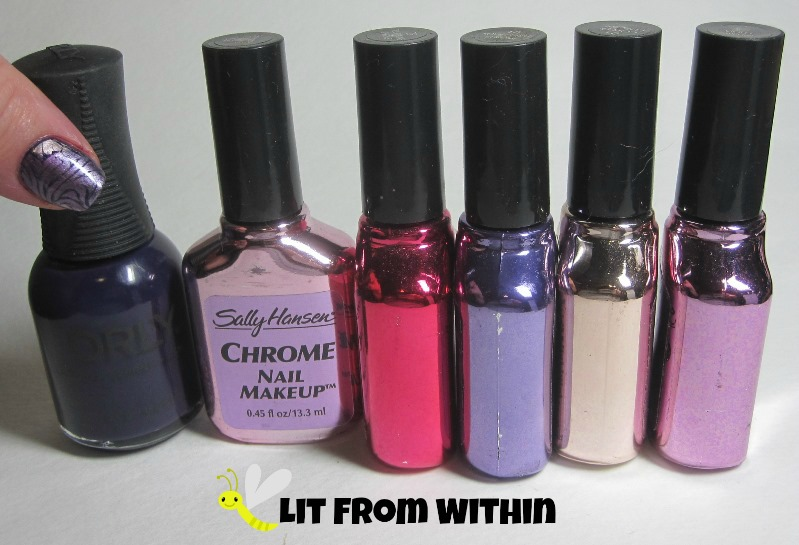 Bottle shot:  Orly Wild Wisteria, and in what I *think* is the right order, but I can't remember which is which - Sally Hansen Chrome in Orchid Sapphire, Tourmaline Chrome, Royal Purple Chrome, Copper Chrome, and Violet Sapphire.