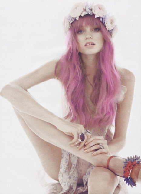 Pink Pastel Hair with a Crown of Flowers